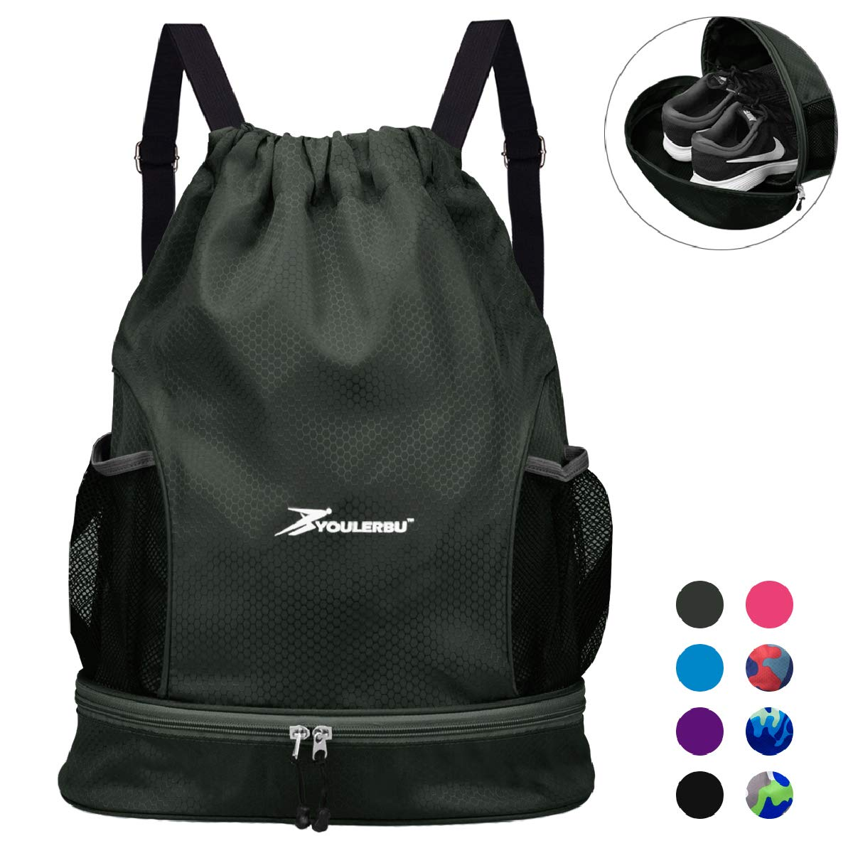 YOULERBU Waterproof Drawstring Backpack Bag with Shoe Compartment, Sports Gym Sackpack for Men Women