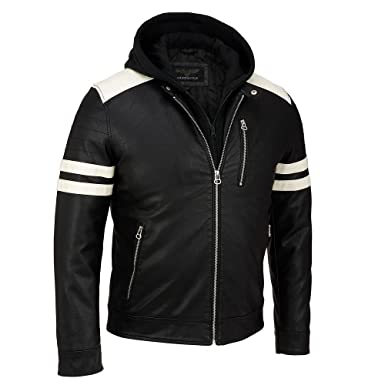 Wilsons Leather Mens Faux-Leather Moto Jacket W/ Storm Collar S Black