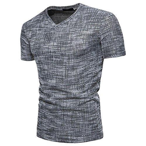 Mens Casual T-shirt,Realdo Summer Soid V Neck Short Sleeve Pullover Top Tee Blouse(Black,XX-Large)