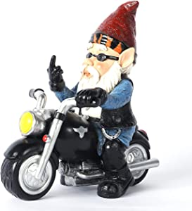 Garden Gnome Garden Cool Bikers Finger Statue Biker Garden gnome Garden Bikers Gnomad Motorcycle Measure 5.5 Long Inch 2.6 Inch Width 5.1 Inch Tall Lawn Garden Figurine