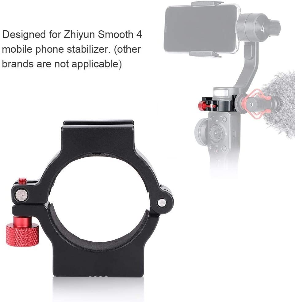 Aluminum Alloy Hot Shoe Adapter Ring Mount 1//4 Screw Interface for Zhiyun Smooth 4 Mobile Phone Delaman Ring Adapter