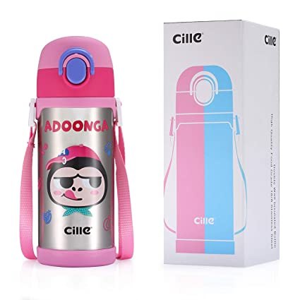 4a1844d40 CILLE 16 oz Kids Insulated Water Bottles with Straw and Shoulder Strap +  Extra Straw