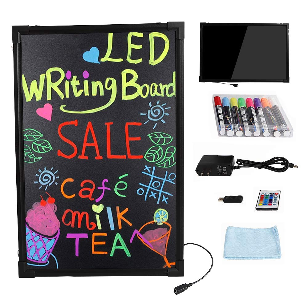 LED Menu Sign Board, Flashing Illuminated Erasable Led Neon Sign Message with 8 Colors Fluorescent Marker Pens and Remote for Home Office Cafes Restaurant Clubs Bars by Wanlecy