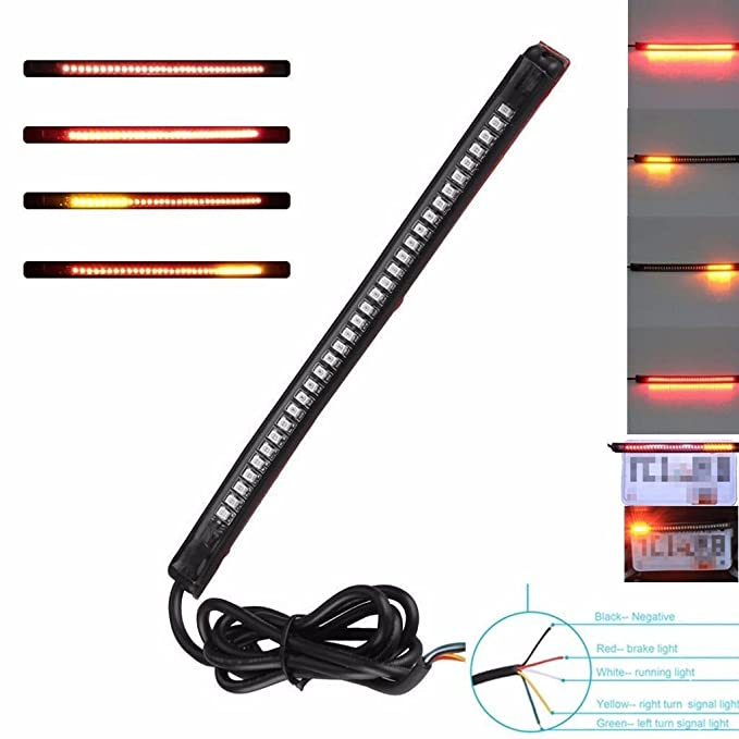 2 pcs 32 LED Integrated Brake Stop Turn Signal Tail Light Strip Bar Motorcycle Cruiser Chopper Cafe Racer Old School Bobber Touring Dirt bike