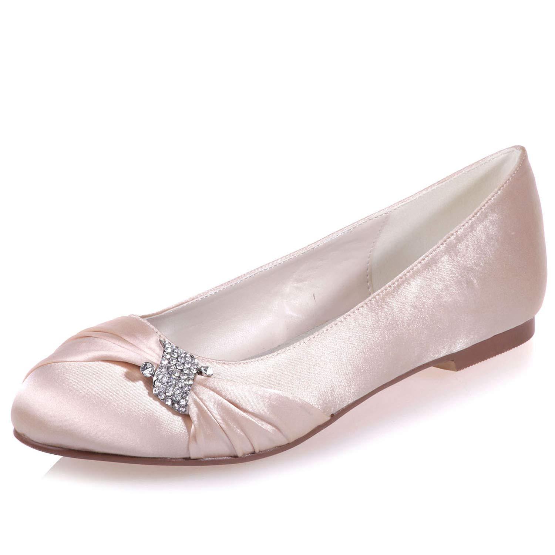 Champagne Elobaby Chaussures De Mariage Plates pour Femmes en Satin, Robe D'été Blanche, Talon Bout Rond Mariée en Ivoire   0.6Cm