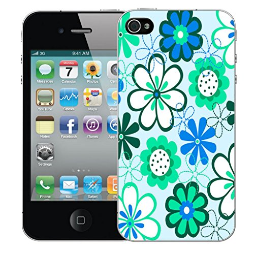 Mobile Case Mate iPhone 4 4s Concepteur Dur IMD coque Affaire Couverture Case Cover Pare-chocs Coquille - Blue Daisy Modèle