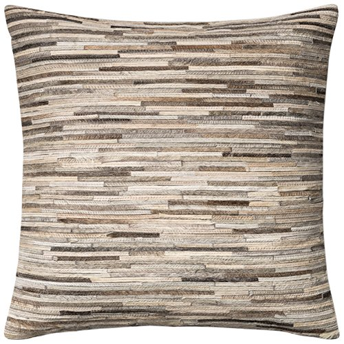 dset loloi grey decorative accent pillow leather u0026 cotton cover with down fill