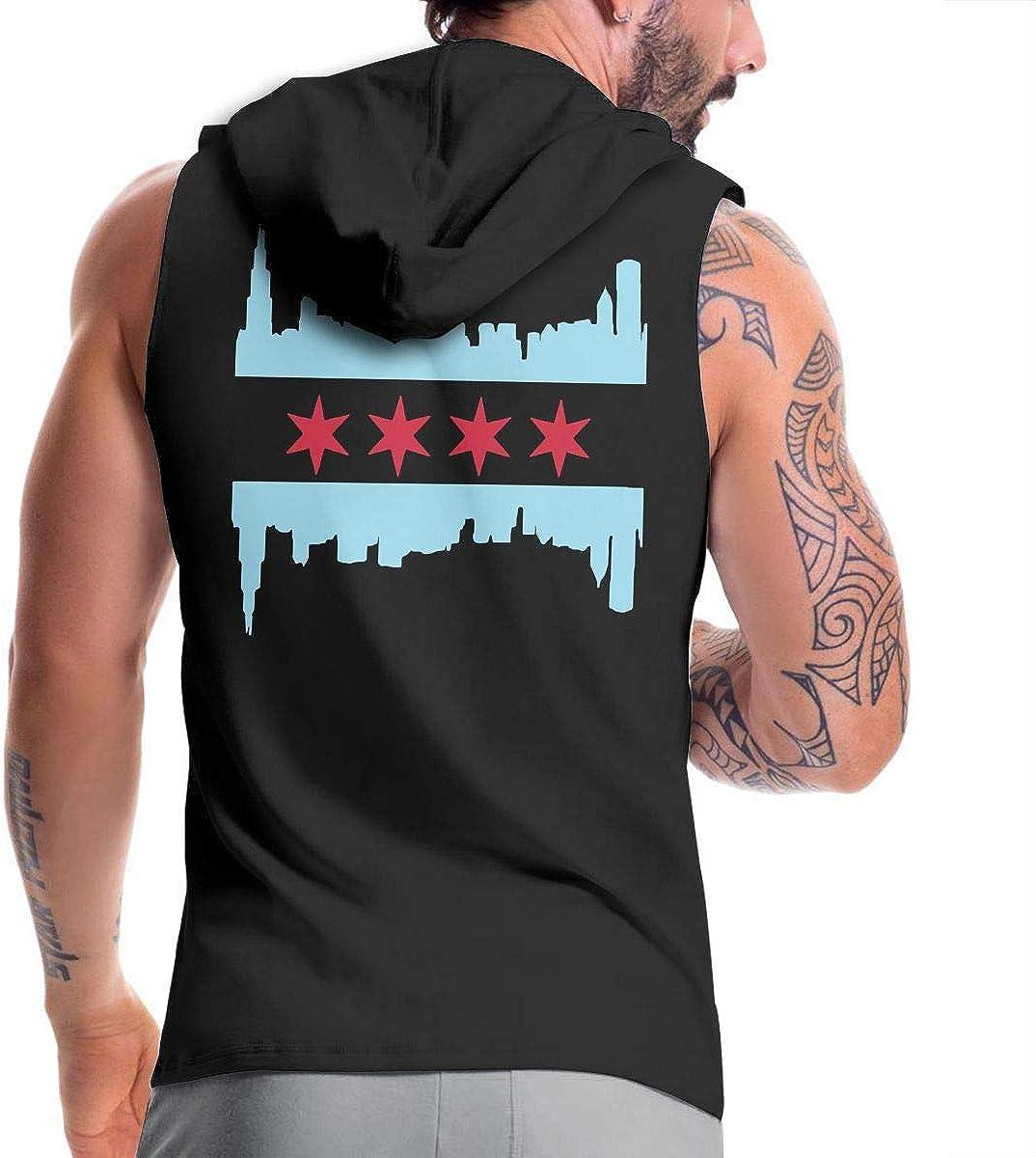 Chicago Flag Zipper Vest BMWEITIHBQ Mens Sleeveless Hoodie