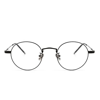 e9330db3d21 Round Wire Rim Glasses Circle Frame Clear Lens Eyeglasses Optical Eyewear  Women Men (Blalck