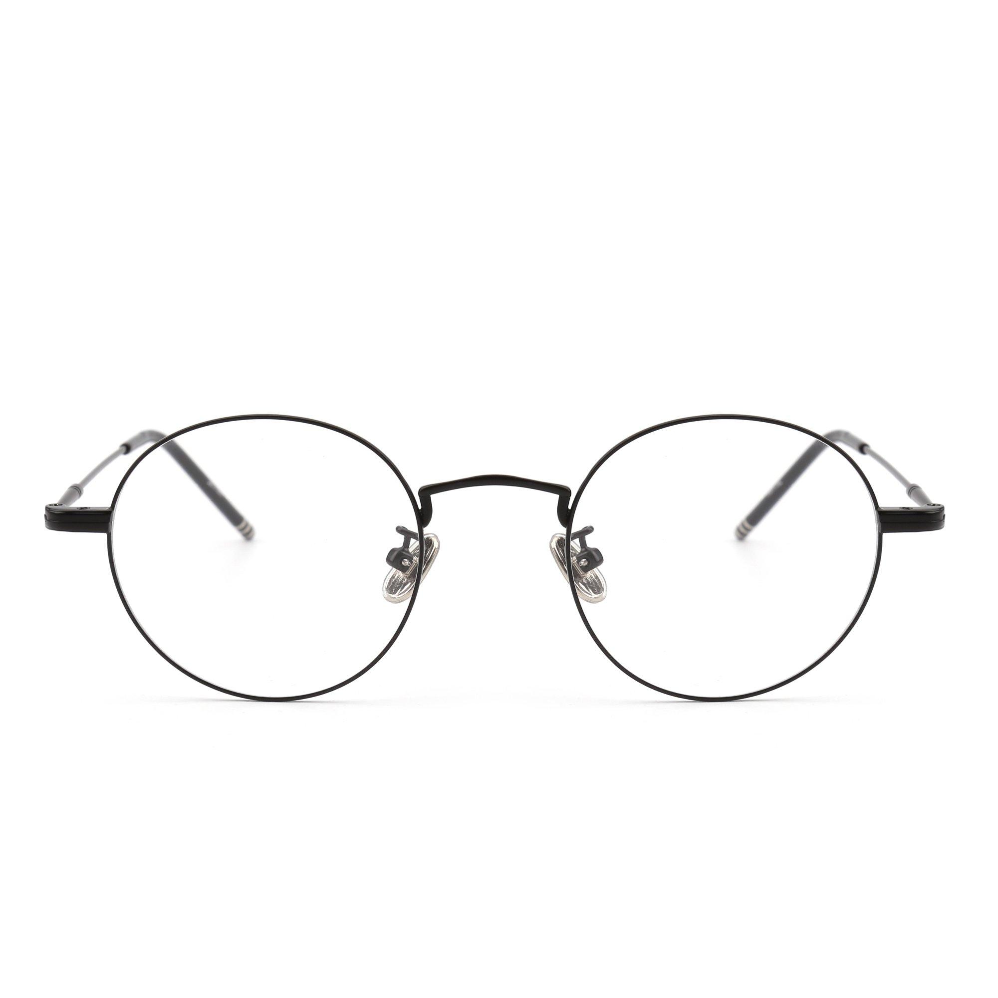 Round Wire Rim Glasses Circle Frame Clear Lens Eyeglasses Optical Eyewear Women Men (Black / Clear)