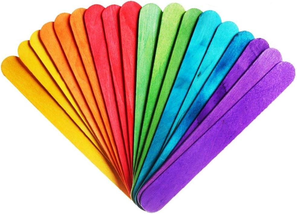 Paxcoo 100 piezas de madera del arte Jumbo Palillos coloreados por ...