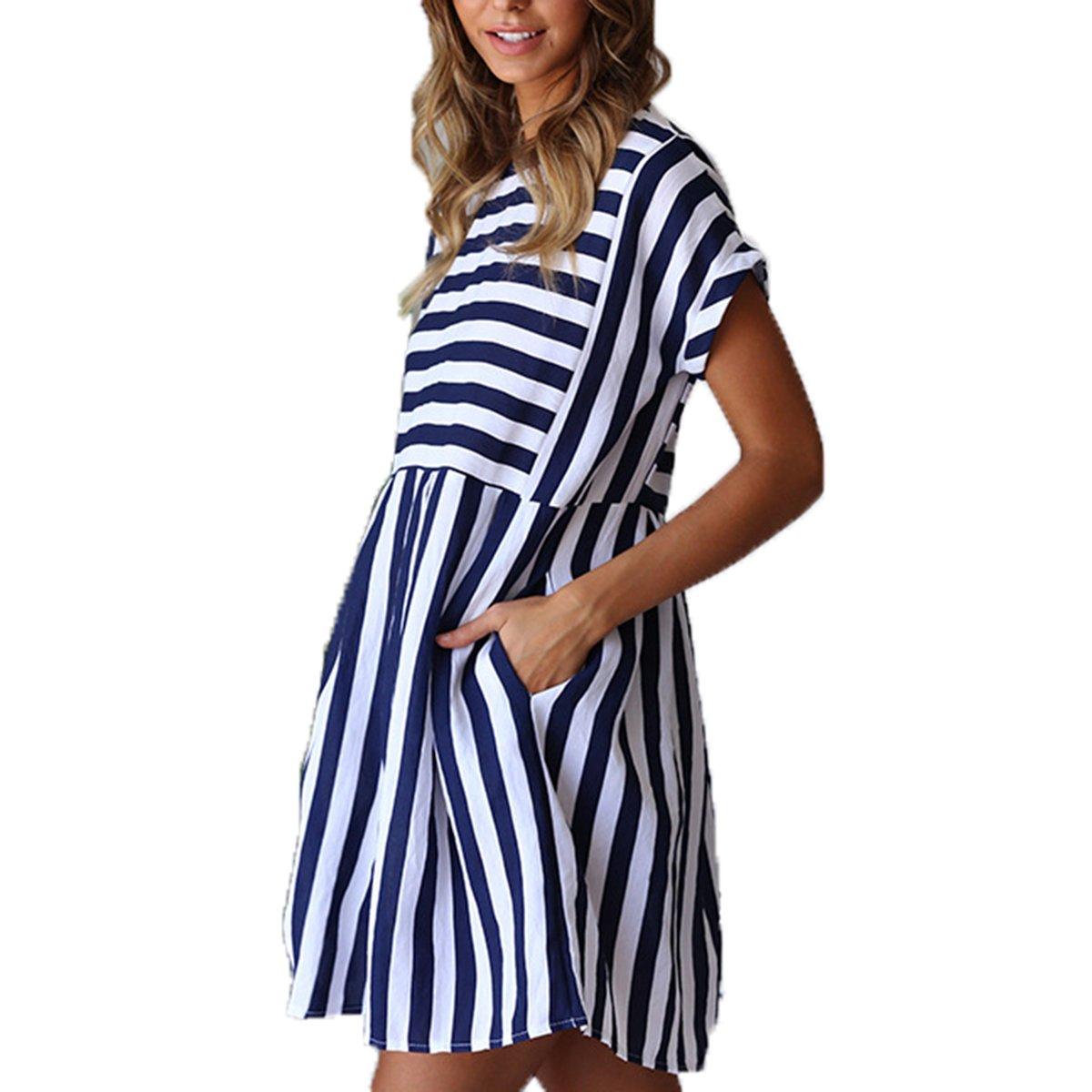 df9cd567cd21 ChongXiao Cute Dresses for Women Short Casual Cute Short Sleeve Mini Summer  Striped Dress at Amazon Women s Clothing store