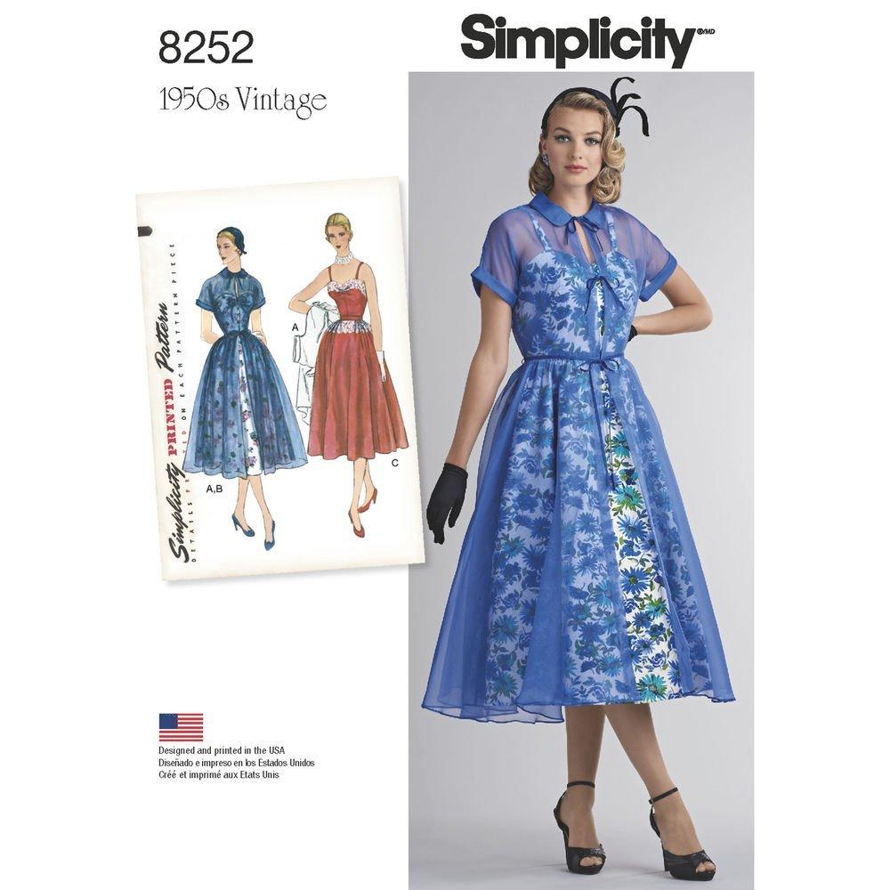 Patrón Simplicity 8252 D5 Misses \'1950\'s vestido y Redingote patrón ...
