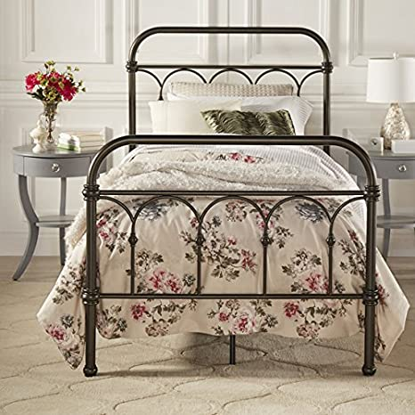 Morocco Vintage Metal Bed Frame Antique Rustic Dark Bronze Cast Knot  Headboard Footboard Retro Country Bedroom Furniture (Twin)