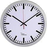 """Hama Funk Wanduhr """"Bahnhof"""" (automatische Zeiteinstellung, 30 cm Durchmesser) silber"""