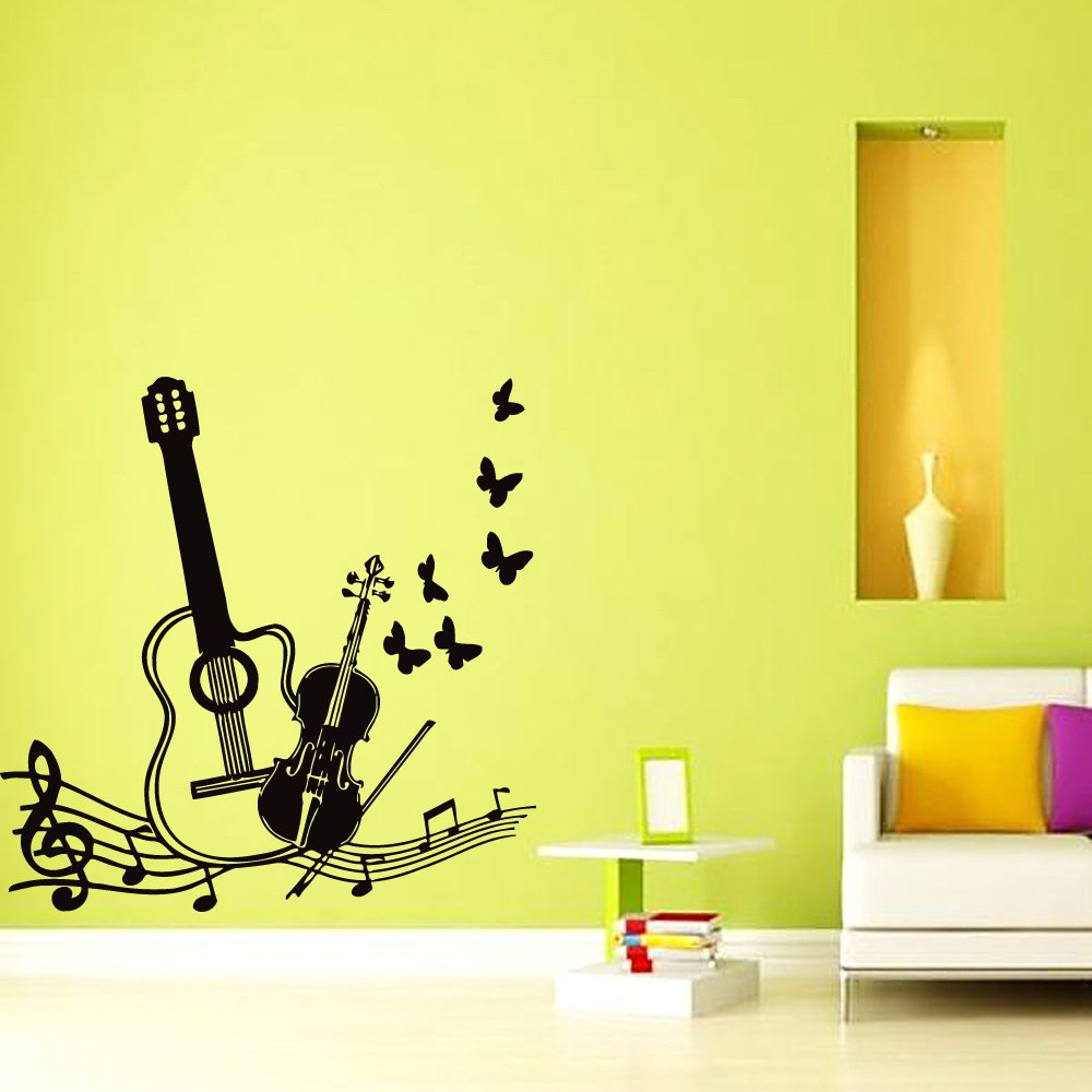 Wall Vinyl Sticker Decal Art Design Guitar Violin with Music Note ...