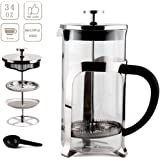 Sivaphe 34OZ French Press Coffee Maker, Double-Wall Borosilicate Glass Tea Pot with Stainless-Steel Filter 1000ml (Gray)