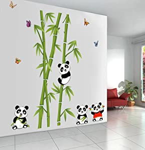 Let'S Diy New Cute Panda Bamboo Wall Stickers Home Decor Living Room DIY Art Decals Removable PVC Wall Sticker for Decoration