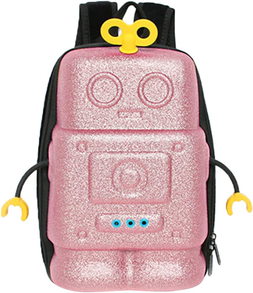 CHIUS Shinning Robot Kids Backpack With Safety Strap Pink V2