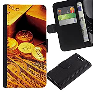All Phone Most Case / Oferta Especial Cáscara Funda de cuero Monedero Cubierta de proteccion Caso / Wallet Case for Sony Xperia Z3 Compact // Gold Bar Coins Money