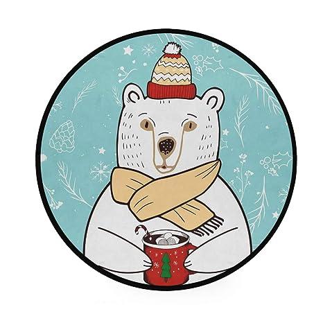 Tapete de oso de Navidad, redondo, antideslizante, suave ...