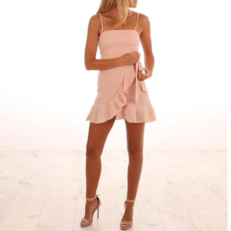 Misaky Womens Sweet Dresses-Summer Spaghetti Strap Chiffon Mini Dress at Amazon Womens Clothing store:
