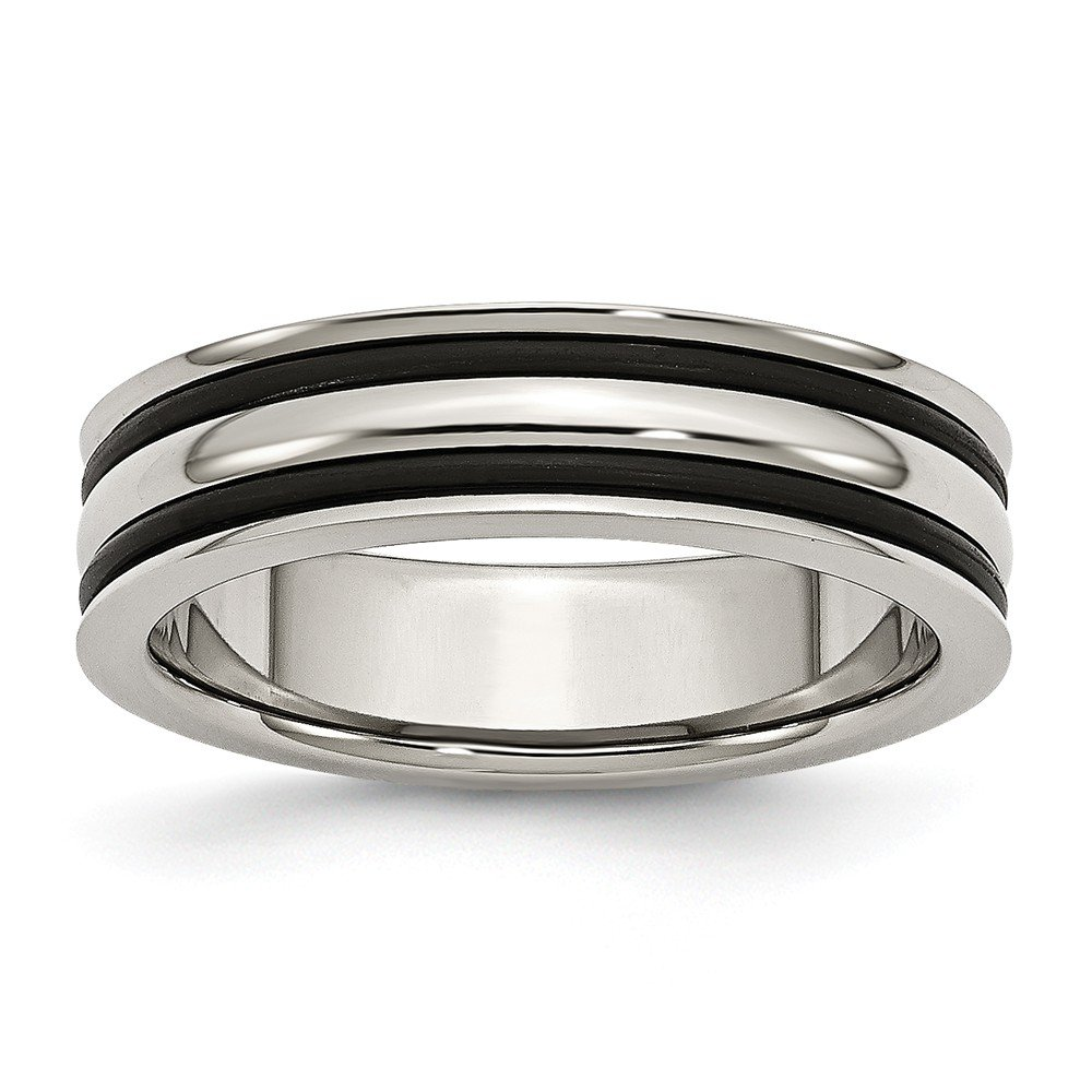 Stainless Steel 6mm Grooved And Black Rubber Wedding Band Size 10.5