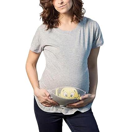 Camisetas de maternidad- Camiseta mujer, Challeng Estampado para mujer - Enfermería casual embarazada -
