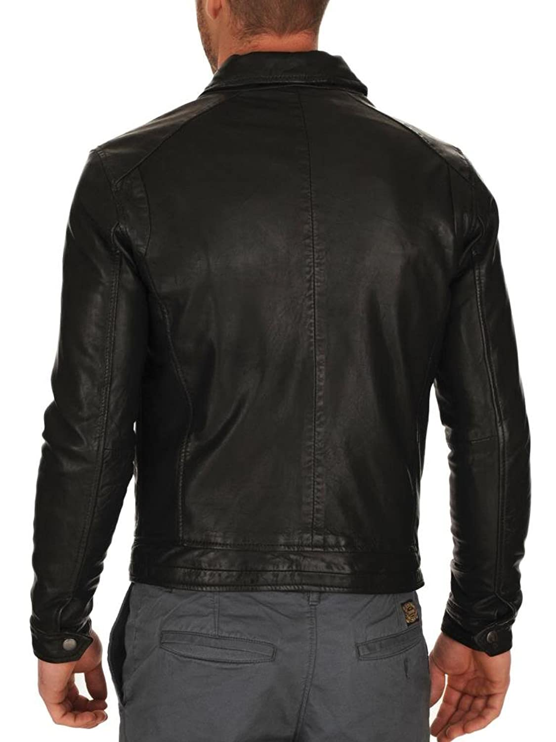 ABDys Men's Lambskin Leather jacket DKL706 Black