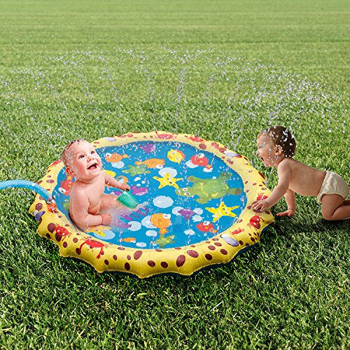 Splash and Spray pad, 40in-Diameter Inflatable Sprinkler Water Mat Outdoor Fun Toy for Hot Summer Swimming Party