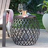 Brown Wood Metal Modern Industrial Rustic Round Drum Side Table Outdoor Patio End Table