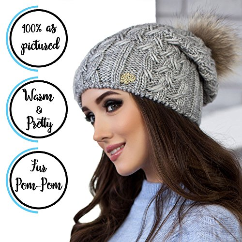 Braxton Hats Winter Beanie For Women With Raccoon Fur Pom-Pom, Fashionable Merino Wool Knit Hat With Fleece Lining, Is Perfect For Cold Weather (Lifgt (Cold Weather Ball Cap)