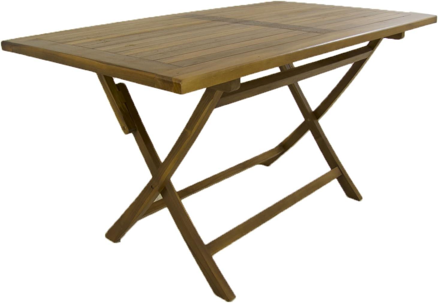 Mesa de jardín Teca Rectangular 120 cm | Madera Teca Grado A | Tamaño: 120x70x77 cm | Tratamiento al Agua aplicado | Portes Gratis