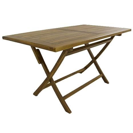 Mesa para jardín teca rectangular 140 cm | Madera teca grado A | Tamaño: 140x80x77