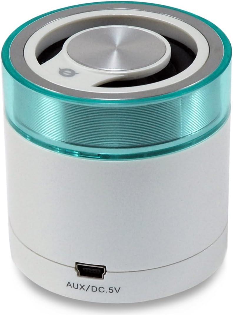Conceptronic CLLSPK30BTW- altavoz estéreo para viaje con Bluetooth 3.0, color verde turquesa y blanco perlado