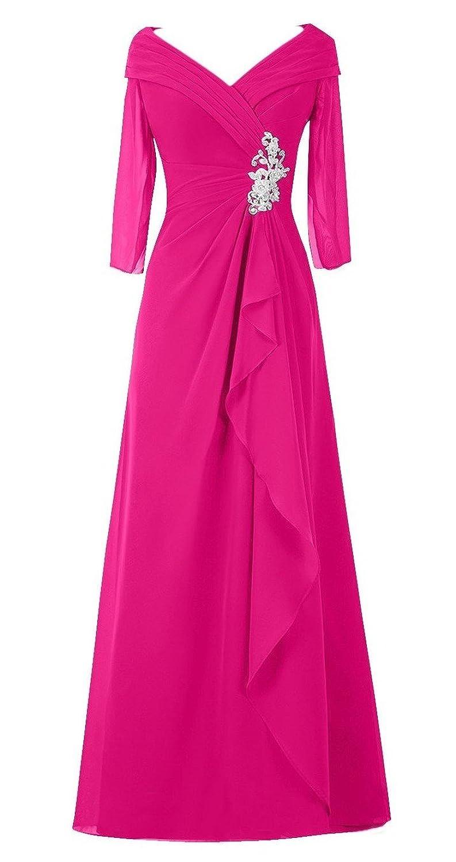 Olidress Women's Long Sleeve V-neck Mother of the Bride Dress