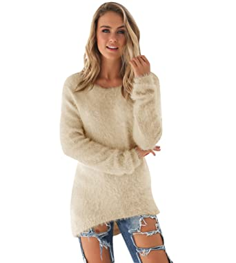 64f8cbe2410f Pull Long Maille Femme Pull Tunique Manches Longues Col Rond Chaud Hiver  Epais Pull Mohair Robe