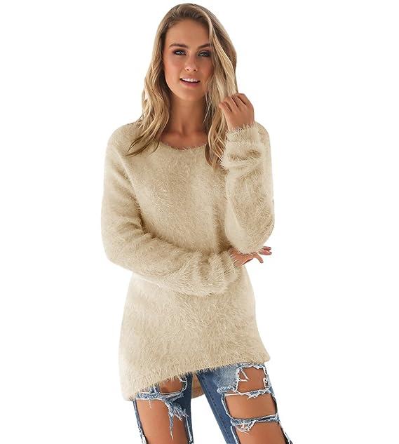 designer fashion 08b56 5fd6d Strickpullover Damen Lange Pullover Strick Kleid Strickkleid ...