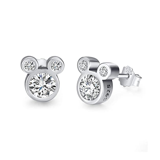 Twenty Plus Cute Dazzling Mickey Shaped Stud Earrings for Women and Girls Fashion Jewelry1-Pair