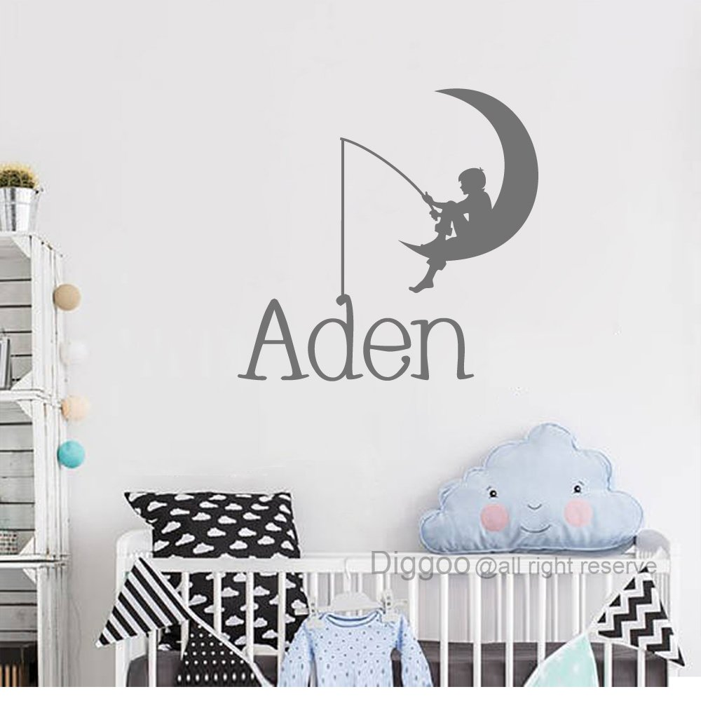 Fishing On The Moon Wall Decal Personalized Boys Name Decal Vinyl Wall Decal Baby Boy Nursery Decor 10 high Plus Free Welcome Door Decal