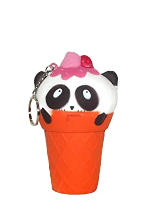 Amazon.com: squishies suave fresa Panda Scoop helado llavero ...