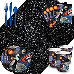 Cedar Crate Market Bundle: Space Blast Party Supplies Pack for 16 Includes: Plates, Napkins, Cups, Tablecover, and Cutlery