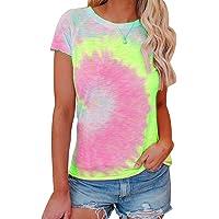 Tie Dye Shirt Women Short Sleeve Top Tye Dye Shirts for Women Casual Loose Round Neck T Shirts