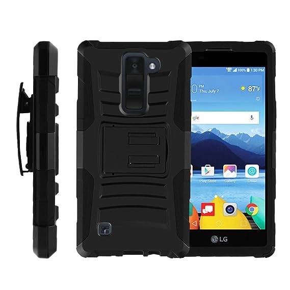 san francisco 27c41 cb8d4 MINITURTLE Case Compatible w/ [LG K8V Case (Verizon) VS550][Clip Armor]  Hard Rugged Shell, Silicone Bumper w/Stand and Holster Black