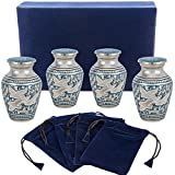 small urns for human ashes - Wings of Love Mini Keepsake Urns for Human Ashes - Set of 4 - Beautiful and Timeless Find Comfort Everytime You Look at These Small High Quality Cremation Urns - with Velvet Case and 4 Velvet Bags