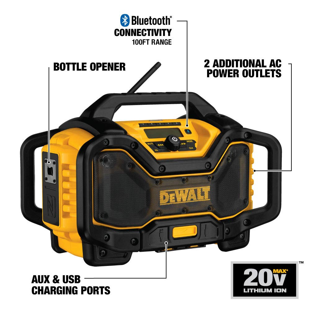 DEWALT 20V MAX Bluetooth Jobsite Radio and Battery Charger (DCR025)