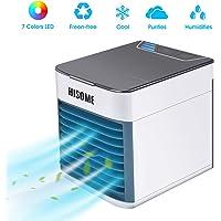 Air Cooler, Hisome 3 in 1 mobile Klimaanlage, Luftbefeuchter und Luftreiniger, USB Mini Luftkühler mit Wasserkühlung, 3 einstellbare Geschwindigkeiten und 7 LED-Nachtlichter für Zuhause, Büro, Hotel