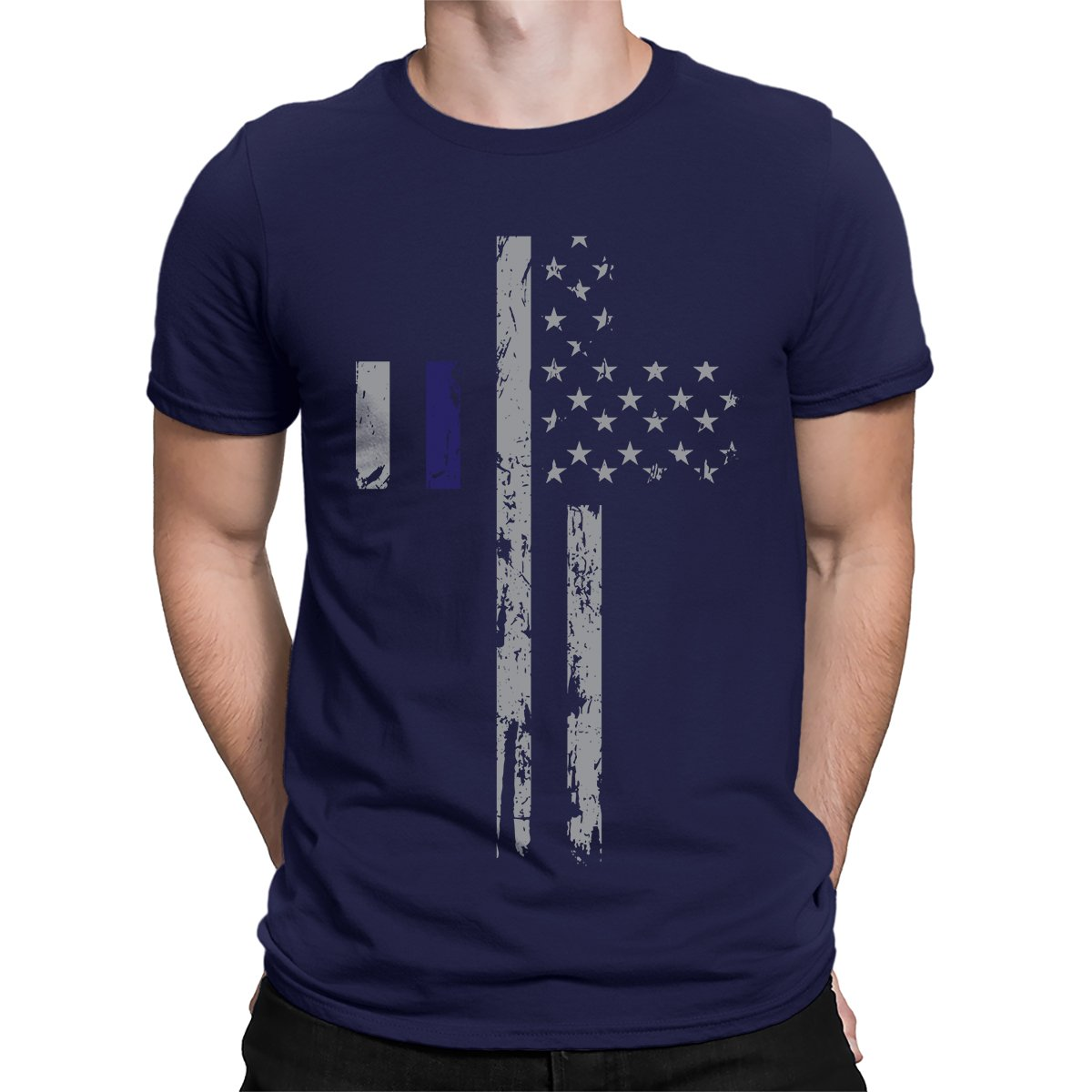 Apparel Silver Blue Line Usa Flag Cross S T Shirt