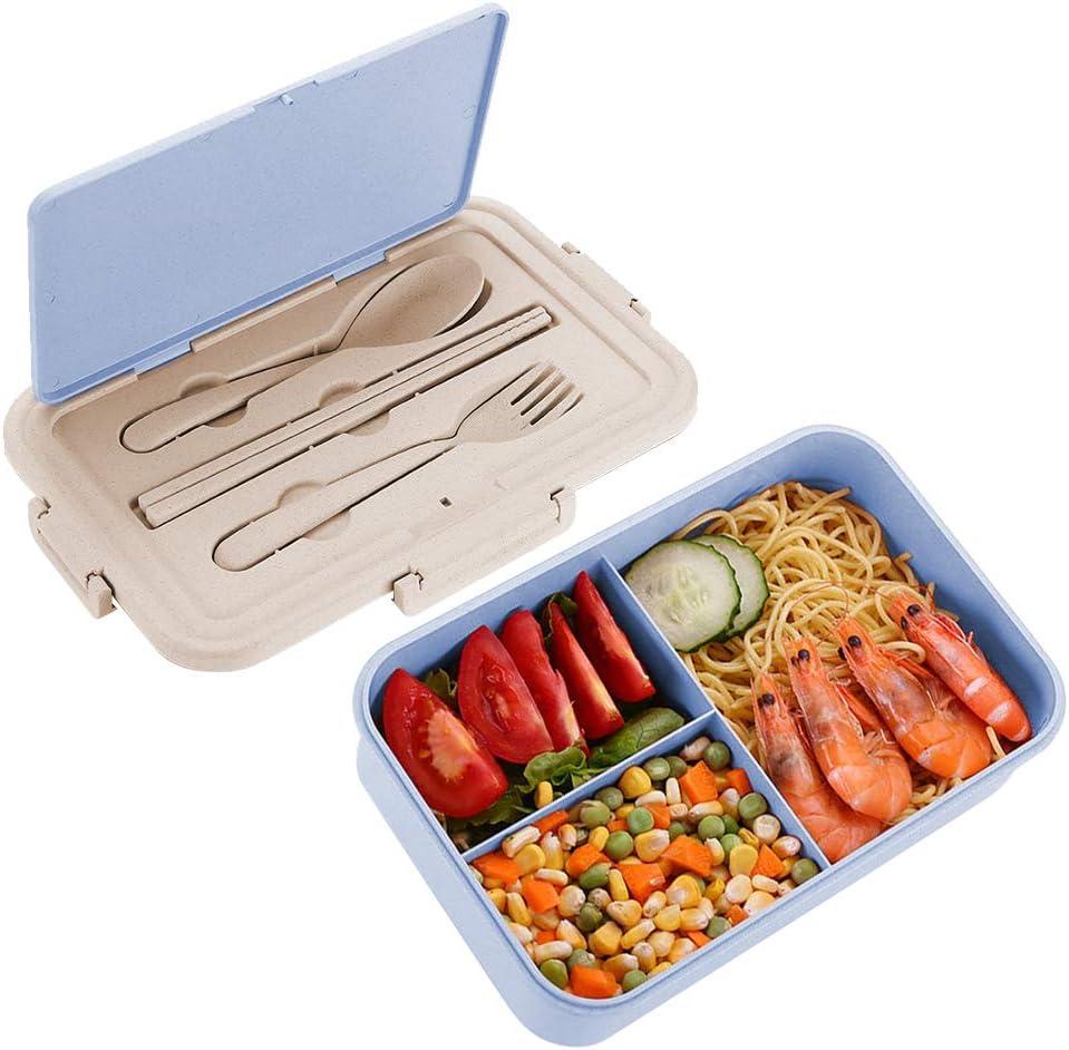 Speyang Fiambrera Bento Trigo 1500ml, Caja de Bento con 3 Compartimentos y Cubiertos, Caja de Almuerzo, Lonchera Niños Adulto, Lunch Bento Box, Sin BPA Fiambrera Infantil Hermetica (Azul)