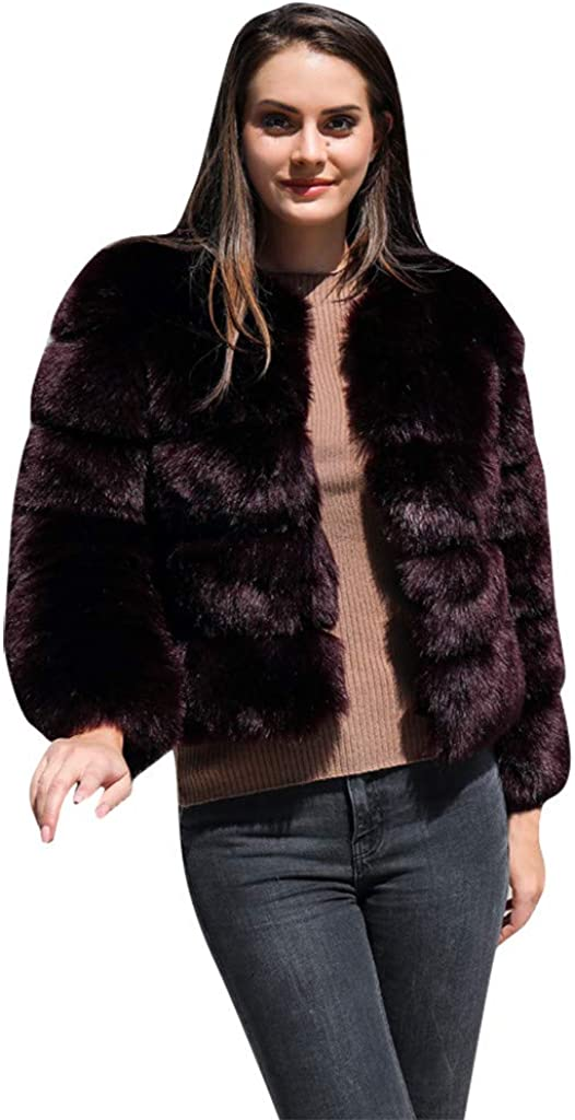 MMSunlight Womens Winter Furs Coat Jacket Luxury Faux Fox Fur Coat Slim Long Sleeve Collar Coat Faux Fur Coat Overcoat